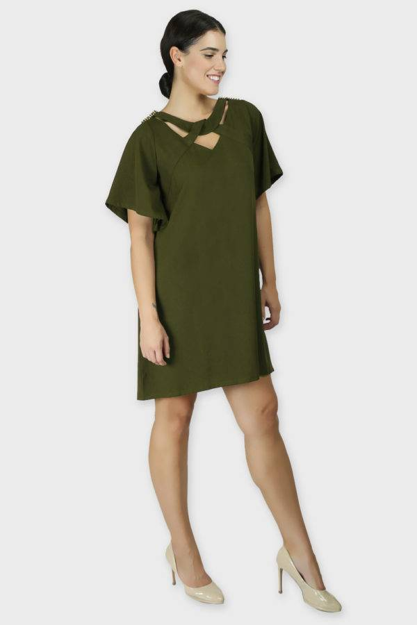 Olive Crisscross Dress4