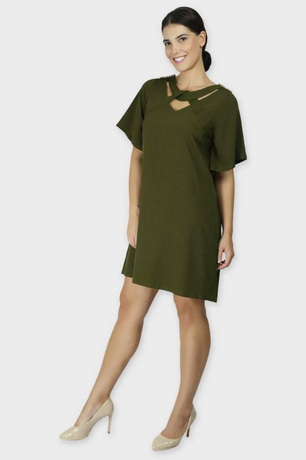 Olive Crisscross Dress5