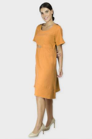 Shoulder Embossed Orange Assymetric Dress1