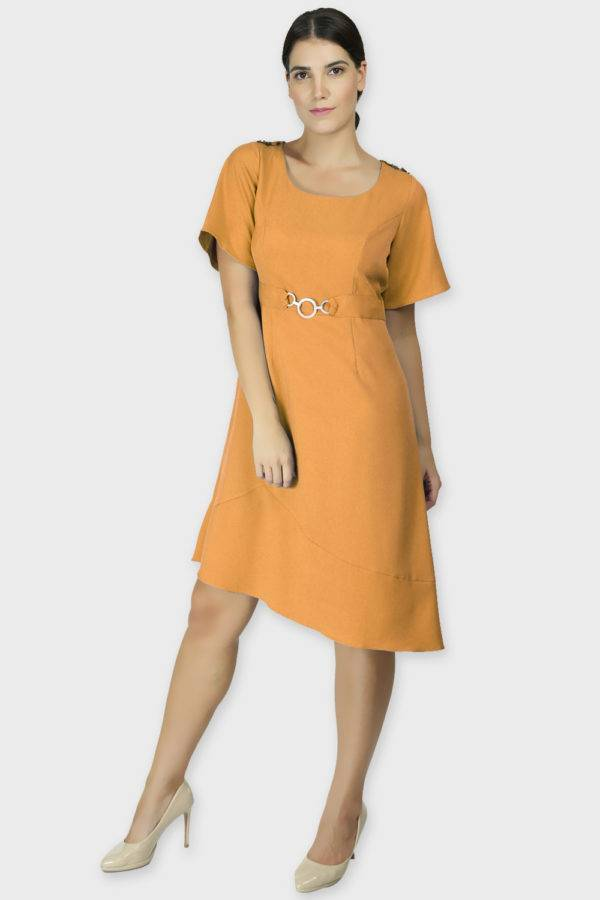 Shoulder Embossed Orange Assymetric Dress2