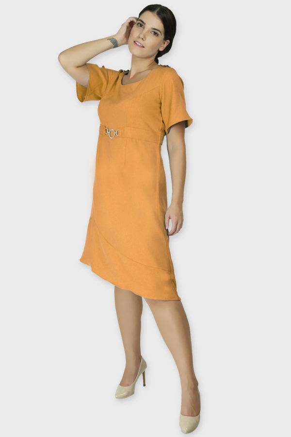 Shoulder Embossed Orange Assymetric Dress3