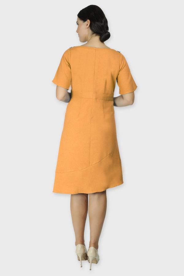 Shoulder Embossed Orange Assymetric Dress4
