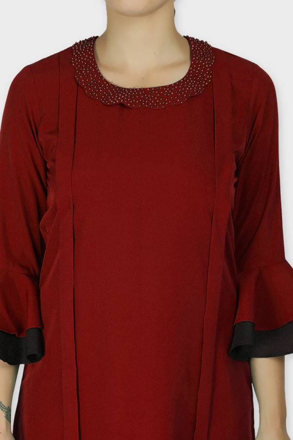Pearl Collar Playful Maroon Dress6
