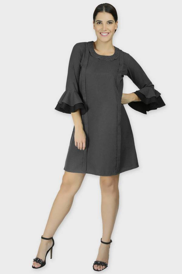 Pearl Collar Grey Playful Dress1