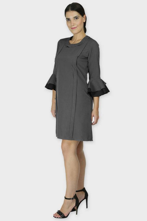Pearl Collar Grey Playful Dress3