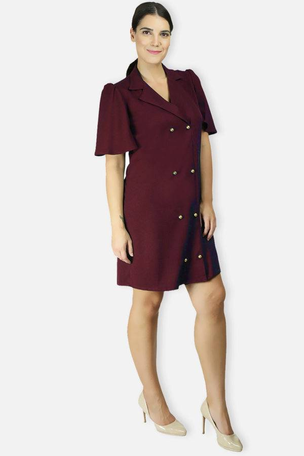 Wine Coloured Trench Dress4