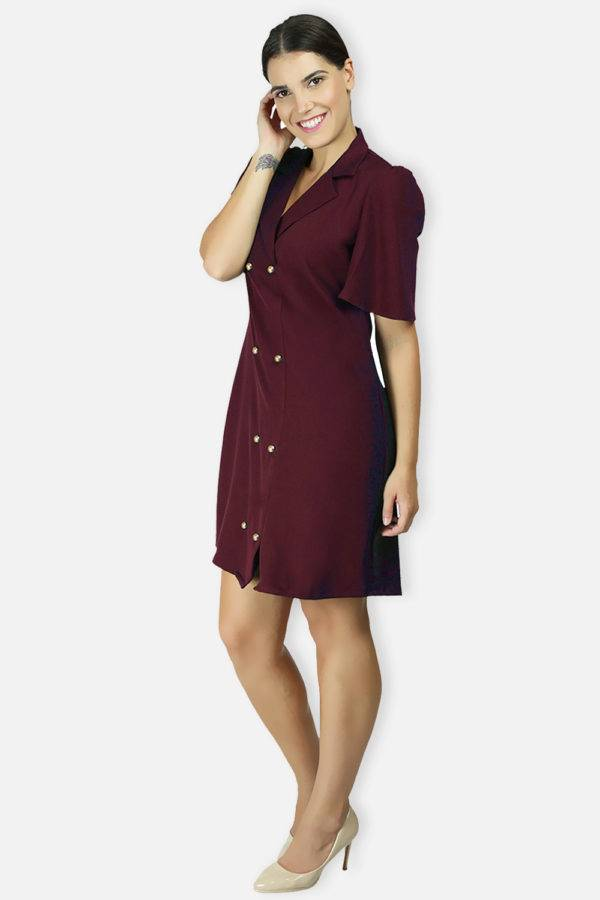 Wine Coloured Trench Dress5