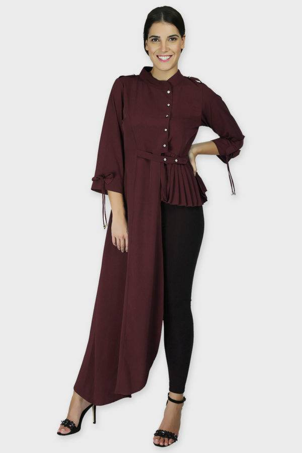 Wine Coloured One Side Flared Shirt1