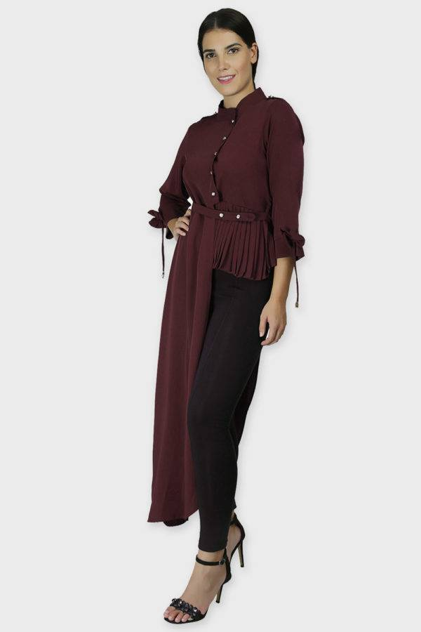 Wine Coloured One Side Flared Shirt4