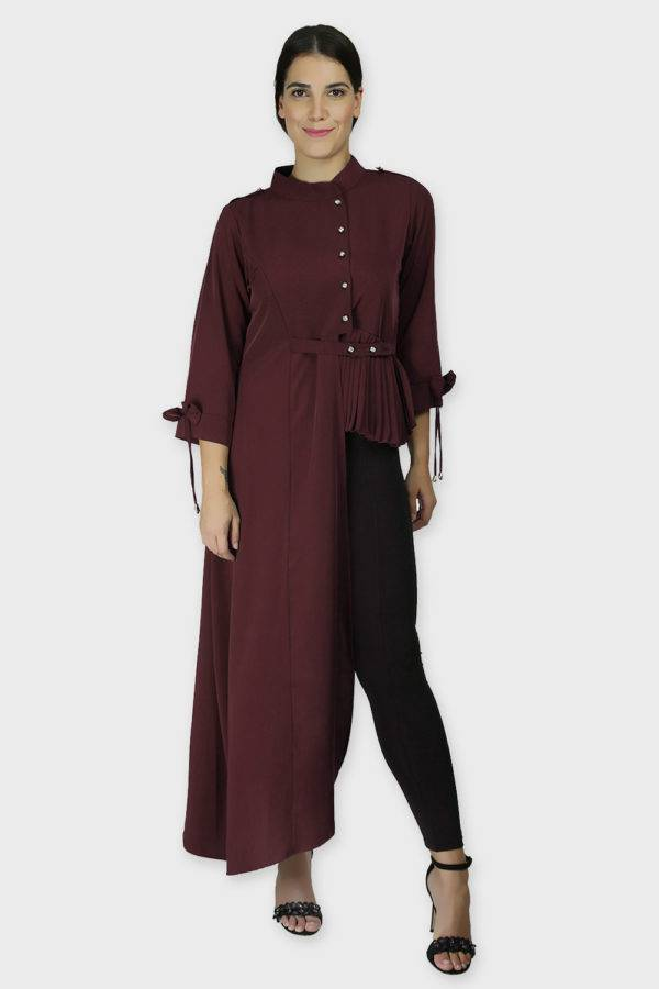 Wine Coloured One Side Flared Shirt5