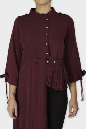 Wine Coloured One Side Flared Shirt6