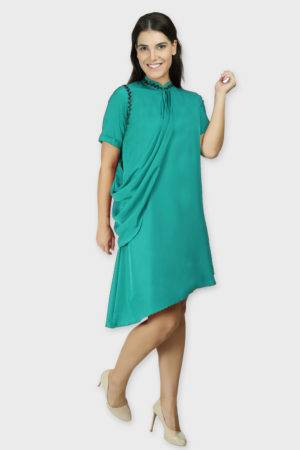 Teal Swarovski Drape Dress4