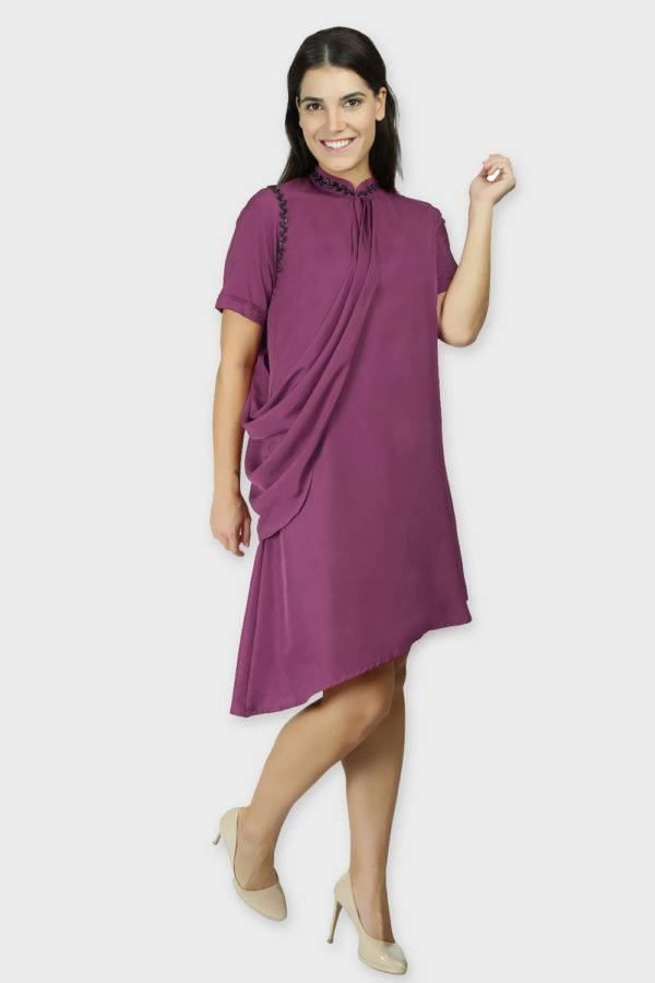 Purple Swarovski Drape Dress4