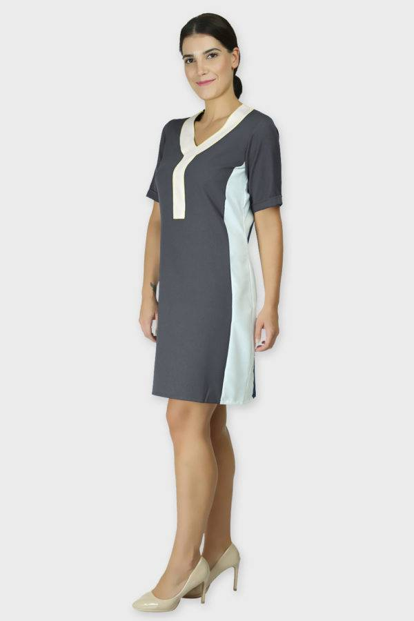 grey color block dress3