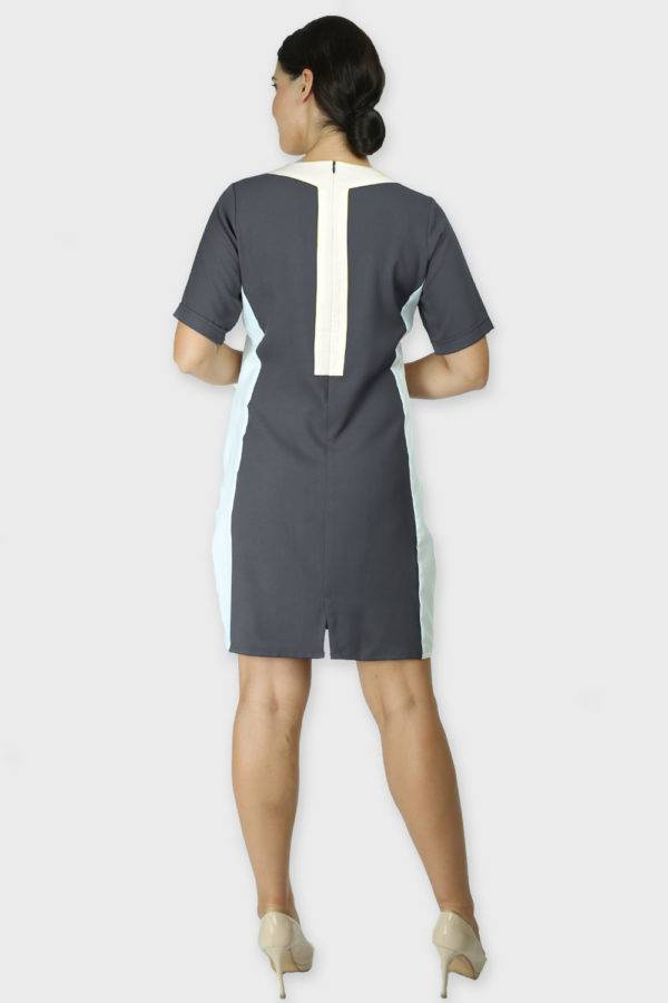 grey color block dress4