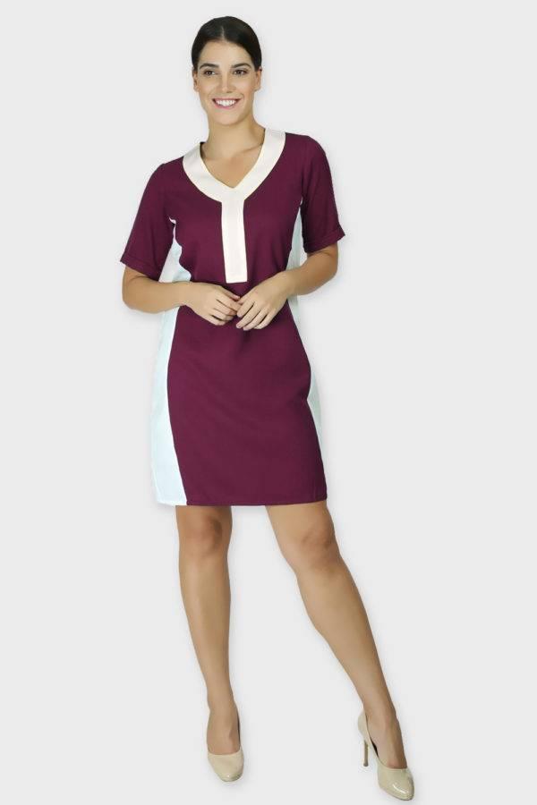 Burgundy Color Block Sheath Dress1