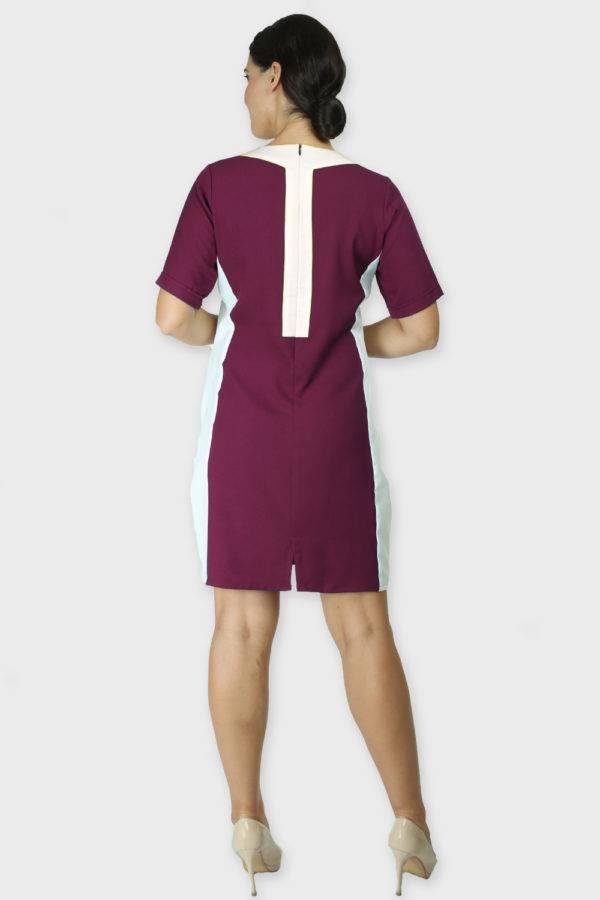 Burgundy Color Block Sheath Dress2