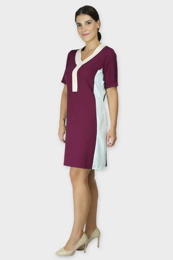 Burgundy Color Block Sheath Dress3