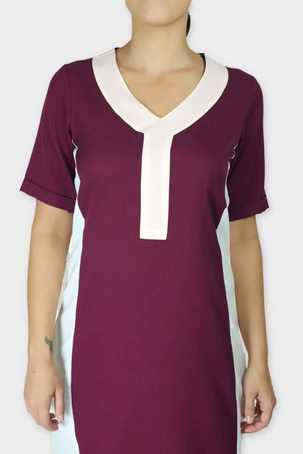 Burgundy Color Block Sheath Dress4