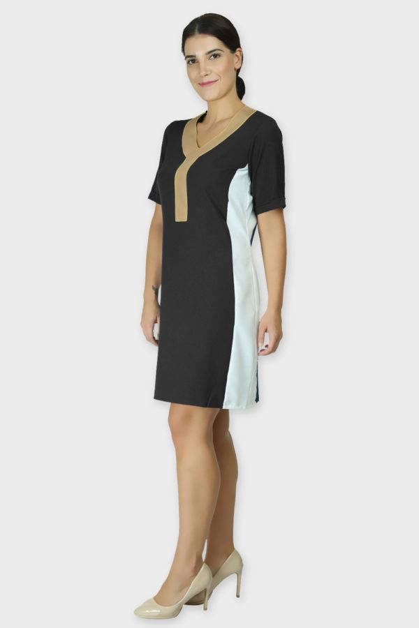 Black Color Block Sheath Dress2