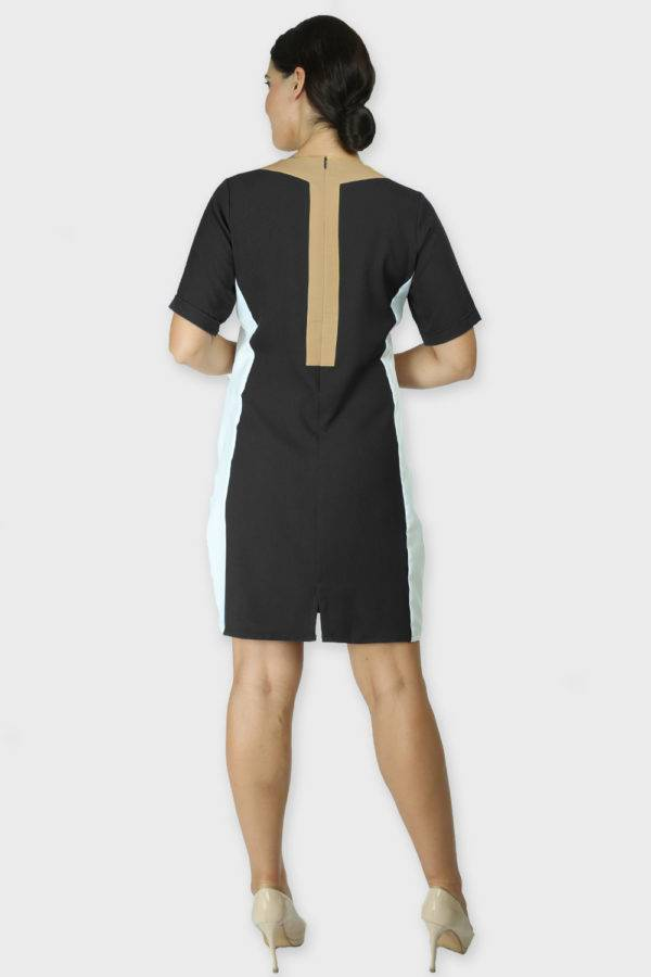 Black Color Block Sheath Dress3