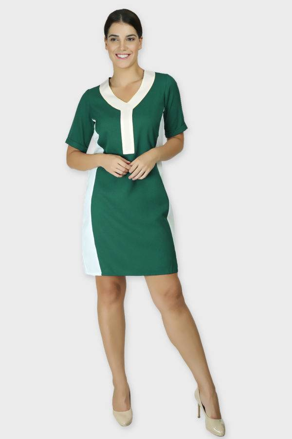 Green Color Block Sheath Dress1