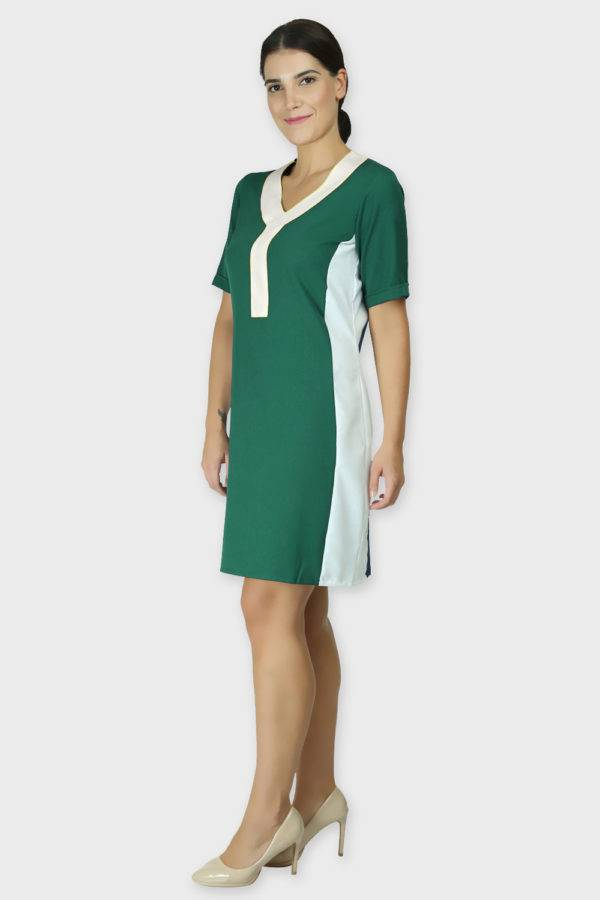 Green Color Block Sheath Dress2