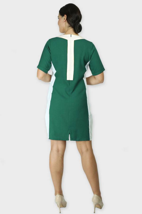 Green Color Block Sheath Dress3