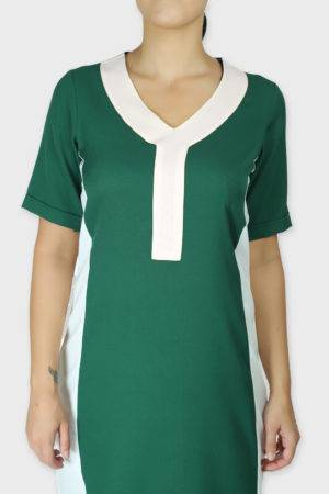 Green Color Block Sheath Dress4