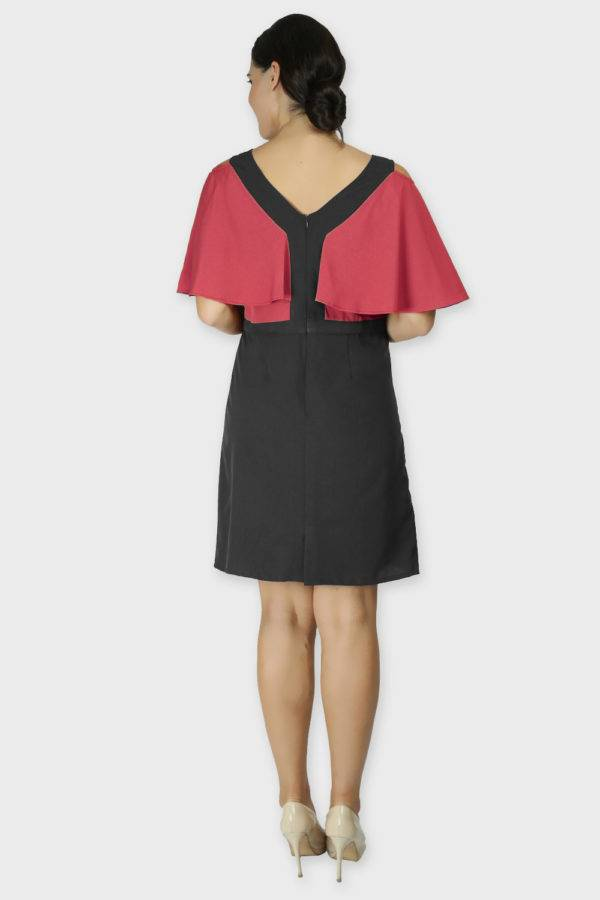 Red Black Color Block Cold Sleeve Dress1