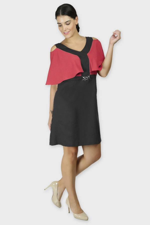 Red Black Color Block Cold Sleeve Dress2