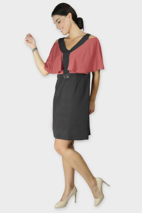 Red Black Color Block Cold Sleeve Dress3