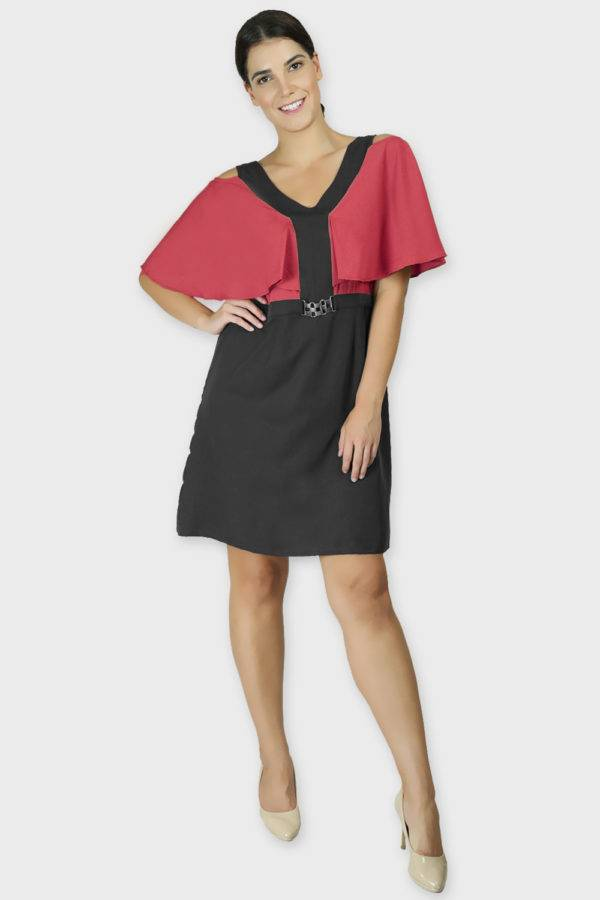 Red Black Color Block Cold Sleeve Dress4