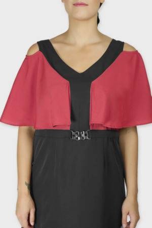 Red Black Color Block Cold Sleeve Dress5