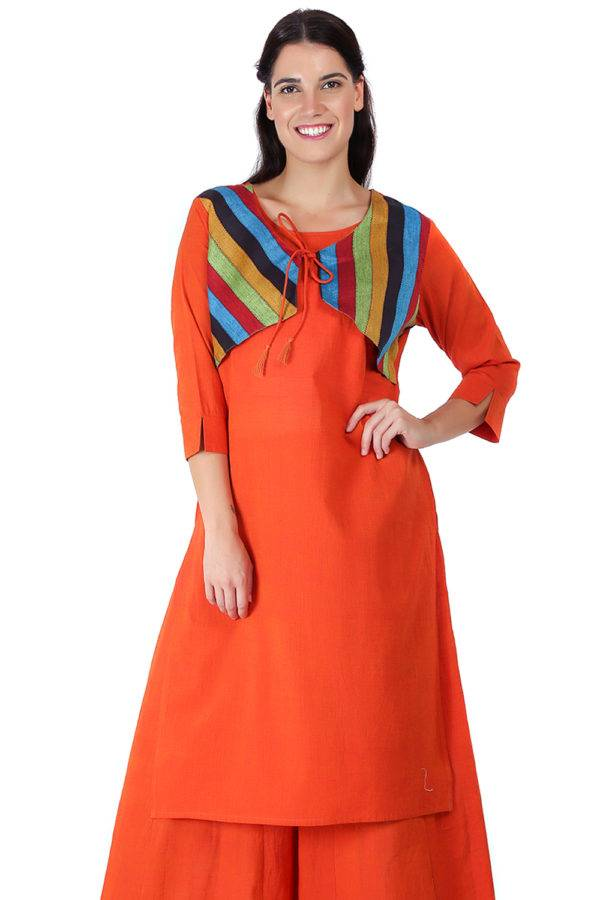 Orange Jacket Handloom Cotton Kurti