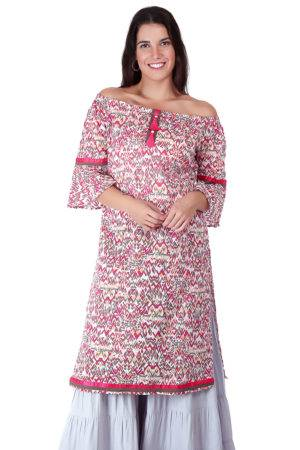 Pink Printed Off Shoulder Kurti