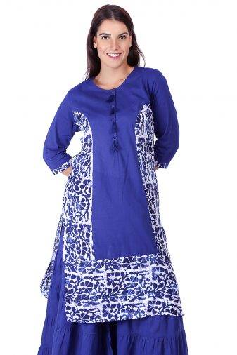 Princes Line Blue White Panel Kurti