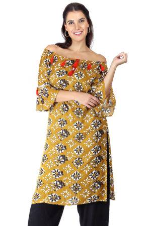 Mustard Printed Off Shoulder Kurti