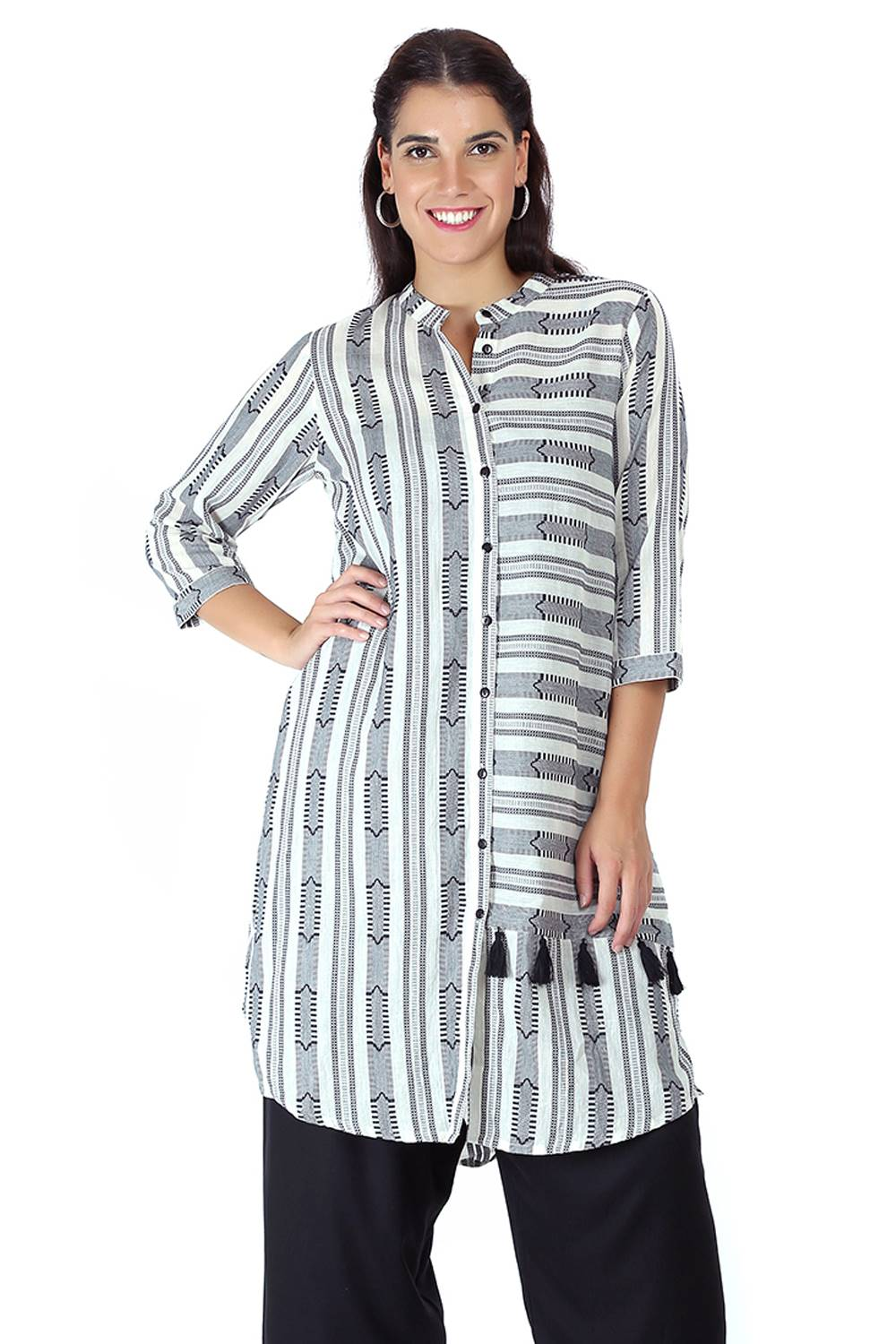 Monochrome high low kurti