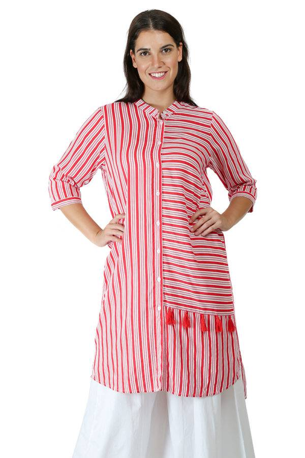 Red-White High Low Shirt Kurti