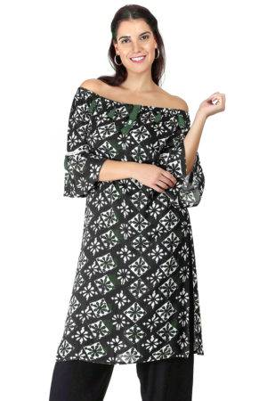 Monochrome Off Shoulder Kurti