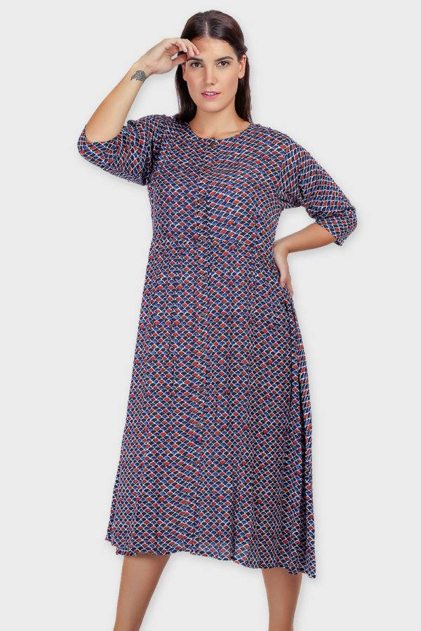 Blue Printed Shirt Dress