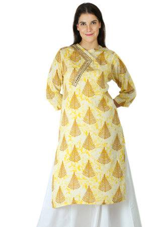 yellow tree print kurti With Overlap neck