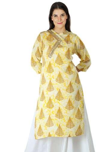 yellow tree print kurti With Overlap neck