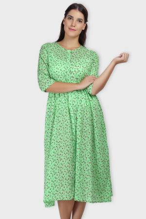 Green Long Flared Dress