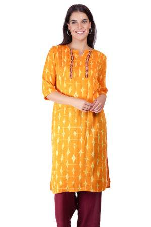 Yellow Pleated kurti
