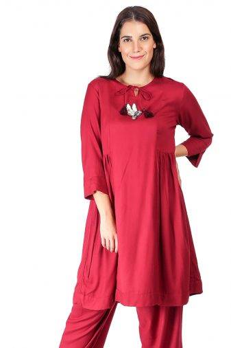 Maroon Pleated Kurti With Bird Patch