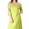 Green Off Shoulder Kurti