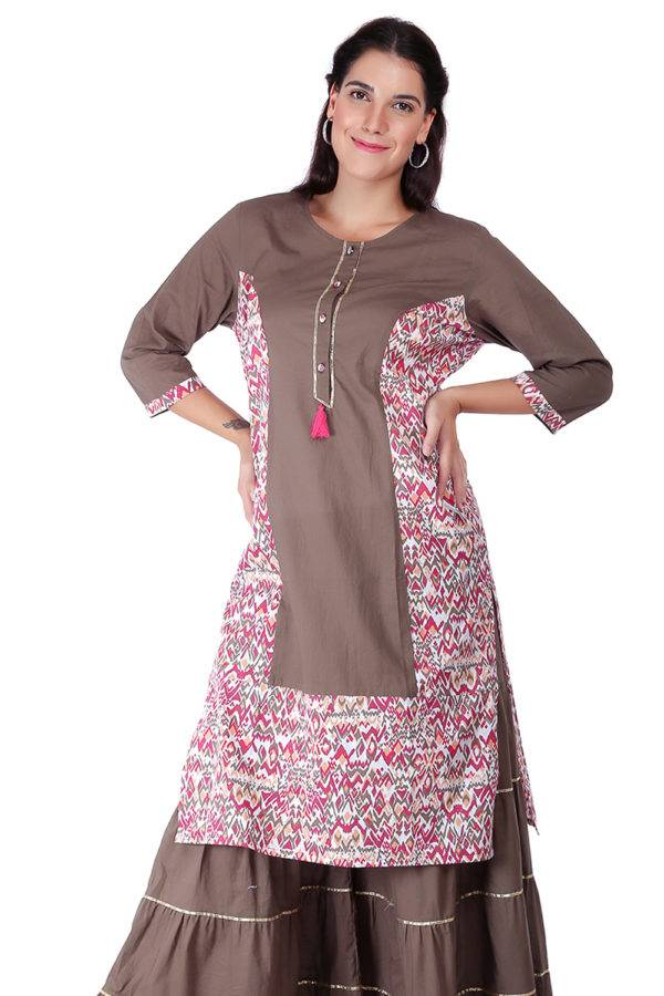 Princes Line Olive Multi Panel Kurti