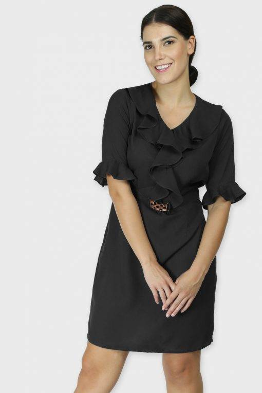 Black Ruffle Dress With Metal Buckle
